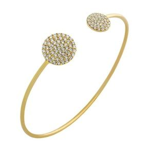 GOLD PLATED 925 Sterling Silver  CZ  BANGLE